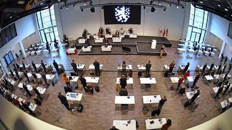 Blick in den Thüringer Landtag in Erfurt