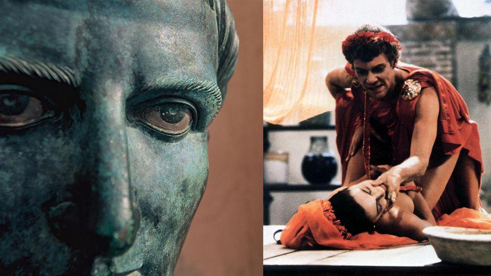 Caligula in einer Büste und im gleichnamigen Film.