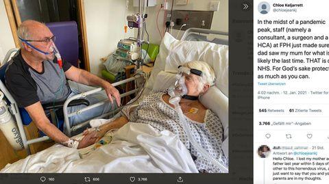Krankenhaus: Nach 50 Jahren: Paar streichelt sich auf Covid-19-Station ein letztes Mal die Hand