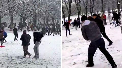 Trotz Corona-Lockdown: Hunderte liefern sich Schneeball-Schlacht in England