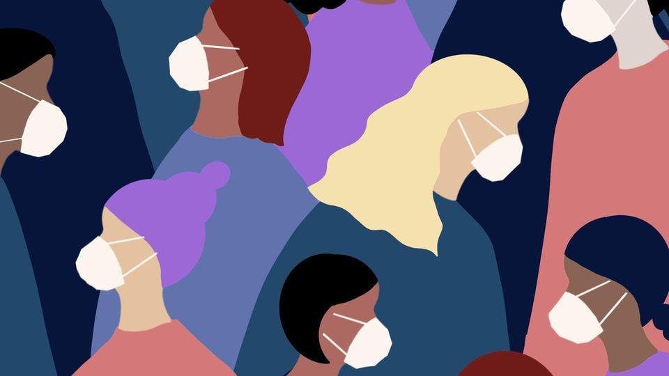 FFP2-Masken: Grafik zeigt Menschen, die eine Maske tragen