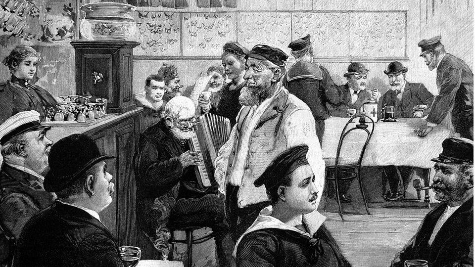 In der Seemannsschenke an Hamburgs Wasserkant, eine Illustration von Seemännern aus dem Jahr 1888