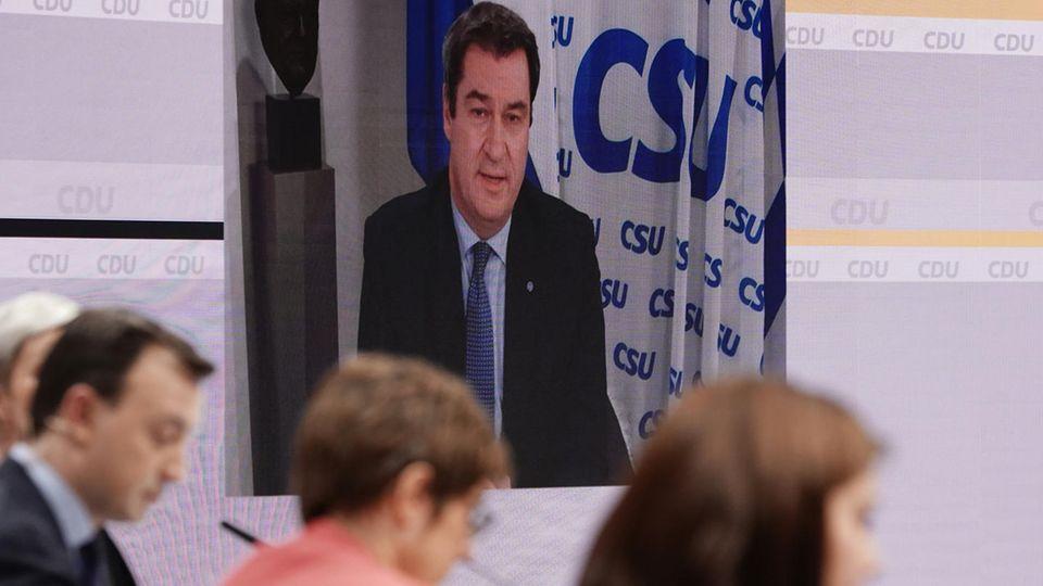 CSU-Chef Markus Söder zugeschaltet auf dem CDU-Parteitag