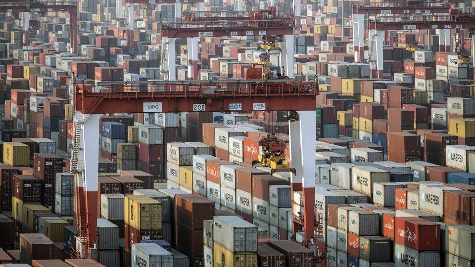 Schiffscontainer neben Brückenkränen im Hafen von Schanghai