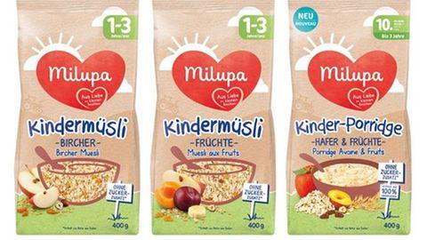 Kindermüsli und Kinder-Porridge der Marke Milupa