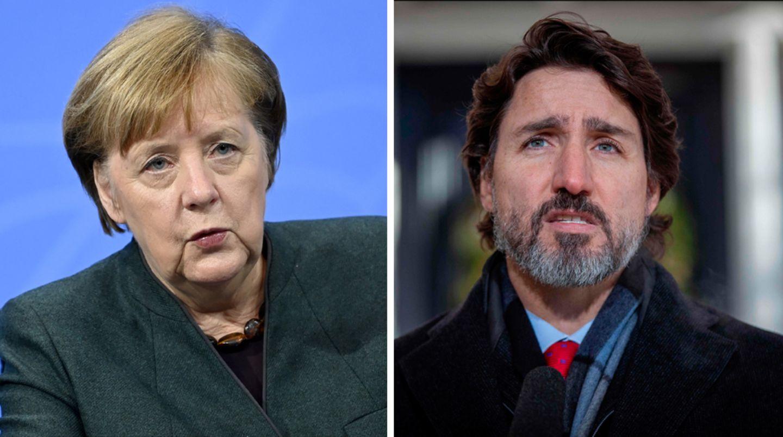 Bundeskanzlerin Angela Merkel (l.) und der kanadische Premierminister Justin Trudeau