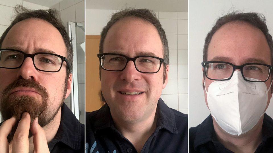 Erlangens Oberbürgermeister Florian Janik (SPD) mit Bart, ohne Bart und mit einer FFP2-Maske