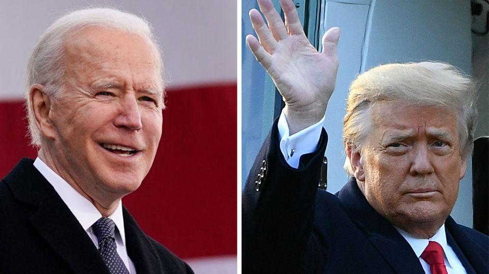 Donald Trump steigt in Helikopter, Joe Biden vor einer USA-Fahne