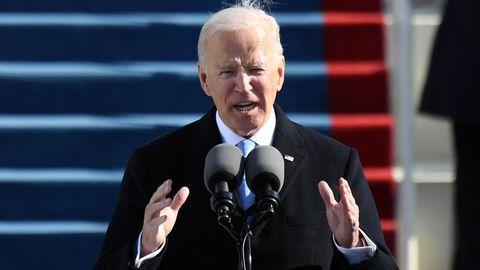 Joe Biden während seiner Antrittsrede als US-Präsident vor dem Kapitol