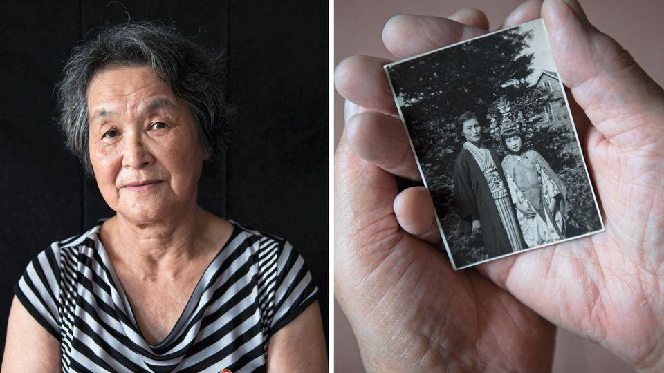 Poträt von Mitsuko Minakawa / Kinderfoto in den Händen von Minakawa