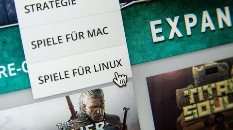 Das Suchmenü für die Suche nach Spielen für Mac und Linux auf der Downloadplattform Steam von Valve, aufgenommen 2015