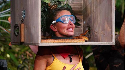 Die Kandidaten müssen ihre Köpfe in Holzboxen stecken, um dann Fragen von Sonja Zietlow und Daniel Hartwich zu beantworten. Allerdings bleiben sie in ihrer Kiste nicht lange allein. Dimitriou bekommt es mit Schlangen zu tun. Vor denen hat sie allerdings am meisten Angst.