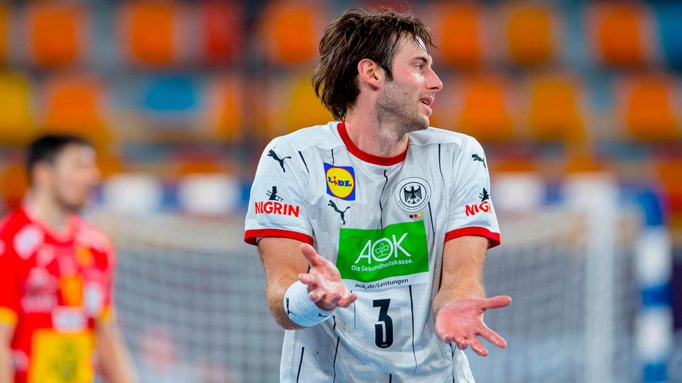 Uwe Gensheimer im Spiel der deutschen Nationalmannschaft gegen Spanien bei der Handball-WM in Kairo