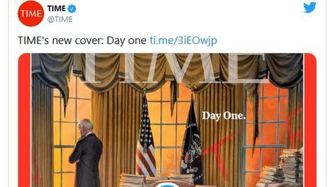 """Das Cover des """"Time""""-Magazins vom 1. Februar zeigt denneuen US-Präsidenten Joe Biden in einem verwüsteten Oval Office"""