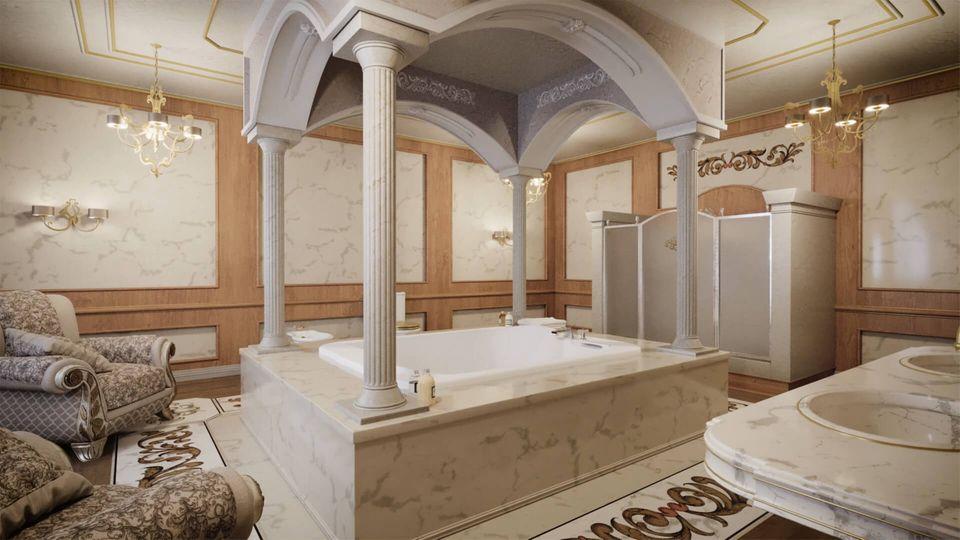 Das Bad des Hauptschlafzimmers