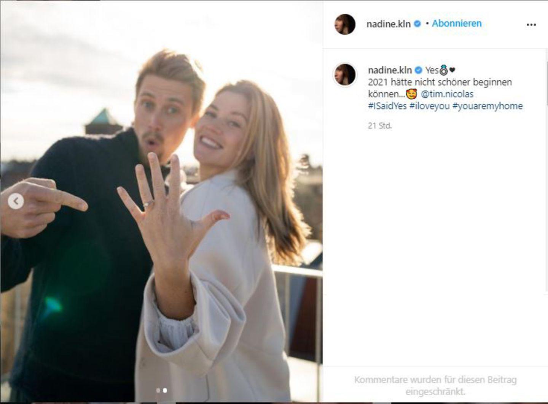 """Vip-News: Ex-""""Bachelorette"""" Nadine Klein hat sich verlobt"""
