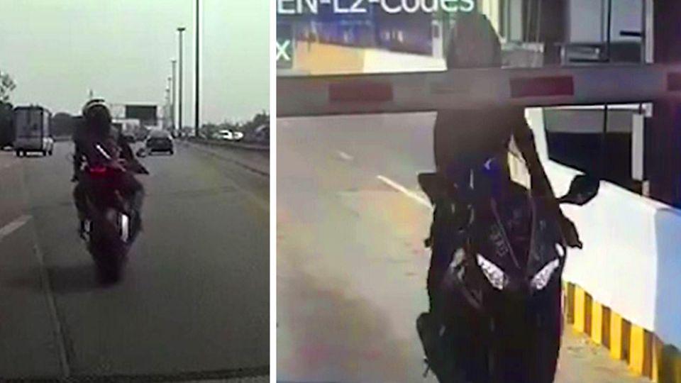Motorradfahrerin flieht vor Polizei – und rast bei voller Fahrt durch Schranke