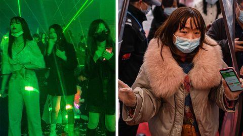 Tanzende Menschen in Nachtclub und Frau mit Maske in Wuhan