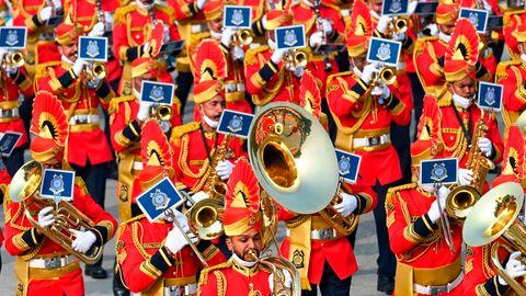 New Delhi, Indien. Soldaten haben sich für einen Probelauf fürden Republic Day, den Indien am 26. Januar begeht, herausgeputzt.