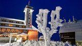 Kein Baum, sondern einvereister Wegweiser steht auf dem 1215 Meter hohen Fichtelberg. Der Winter hat das Erzgebirge in Sachsen fest in seiner Hand. Mehr über die Fichtelbergbahn im Winter sehen Sie hier.