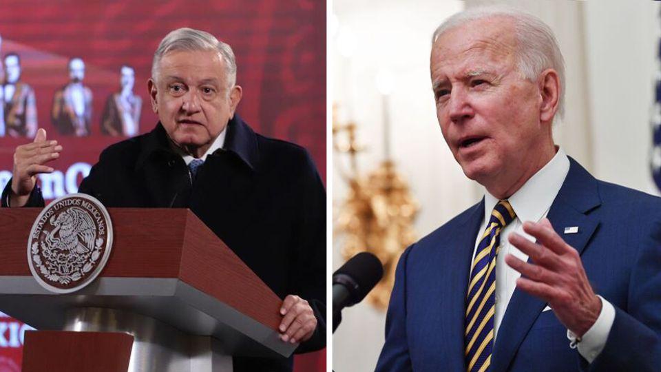Mexikos Präsident Andrés Manuel López Obrador (l.) und US-Präsident Joe Biden (r.)