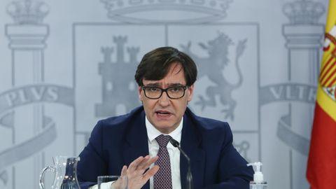 Salvador Illa, Gesundheitsminister von Spanien, spricht auf einer Pressekonferenz