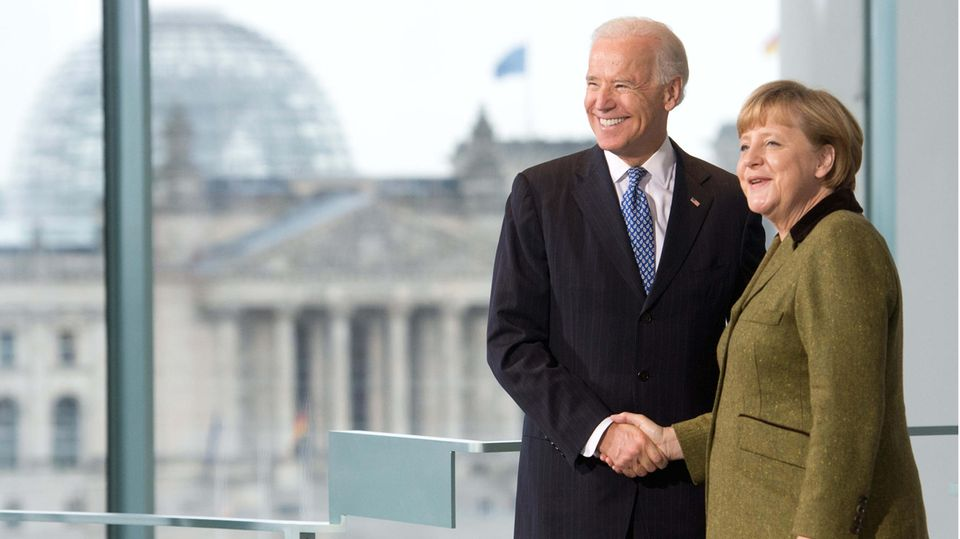 Angela Merkel ; Joe Biden