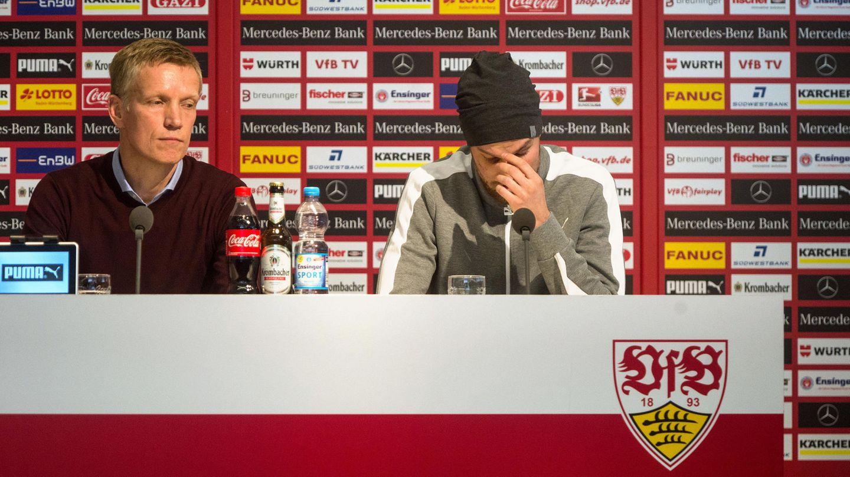 Kevin Großkreutz auf einer Pressekonferenz des VfB Stuttgart