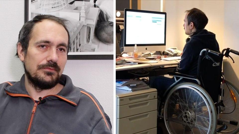 Links sitzt ein junger Mann mit schwarzem Vollbart und grauer Trainingsjacke, rechts sitzt der selbe Mann vor Computermonitoren