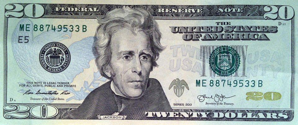 Así es como se ve el billete actual de $ 20.  En la foto aparece el séptimo presidente de los Estados Unidos, Andrew Jackson.