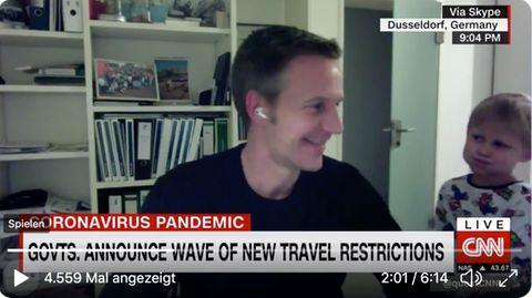 Niedlicher Zwischenfall: Er wollte ins Bett: Sohn von Trivago-Chef stört CNN-Interview