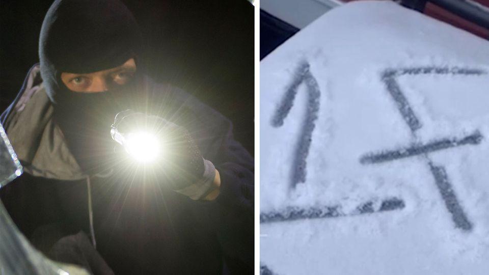 Ein Einbrecher leuchtet mit einer Taschenlampe in ein zerbrochenes Fenster und eine Eins und ein F in Schnee gemalt