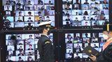 Busan, Südkorea. Die Aufnahmezeremonie derMarine-Universitätin Busan wird in diesem Jahr wegen der Corona-Pandemie virtuell abgehalten. Die Akademie gilt als Vorzeige-Hochschule des Landes.
