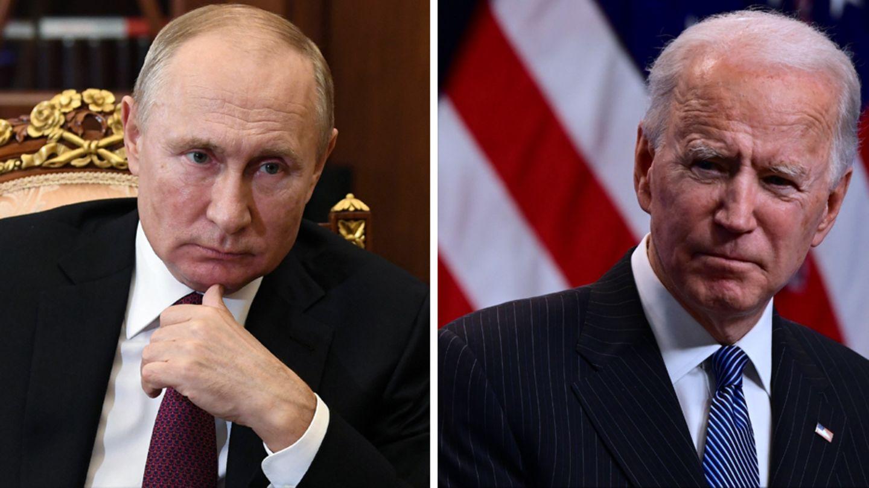 Russlands Präsident Wladimir Putin (l.) und US-Präsident Joe Biden