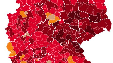 Deutschlandkarte mit Coronazahlen und geschlossene Klinik Bayreuth