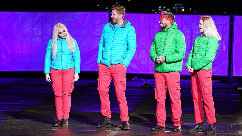 Die Dschungelshow-Halbfinalisten Lydia Kelovitz, Lars Tönsfeuerborn, Mike Heiter undZoe Saip
