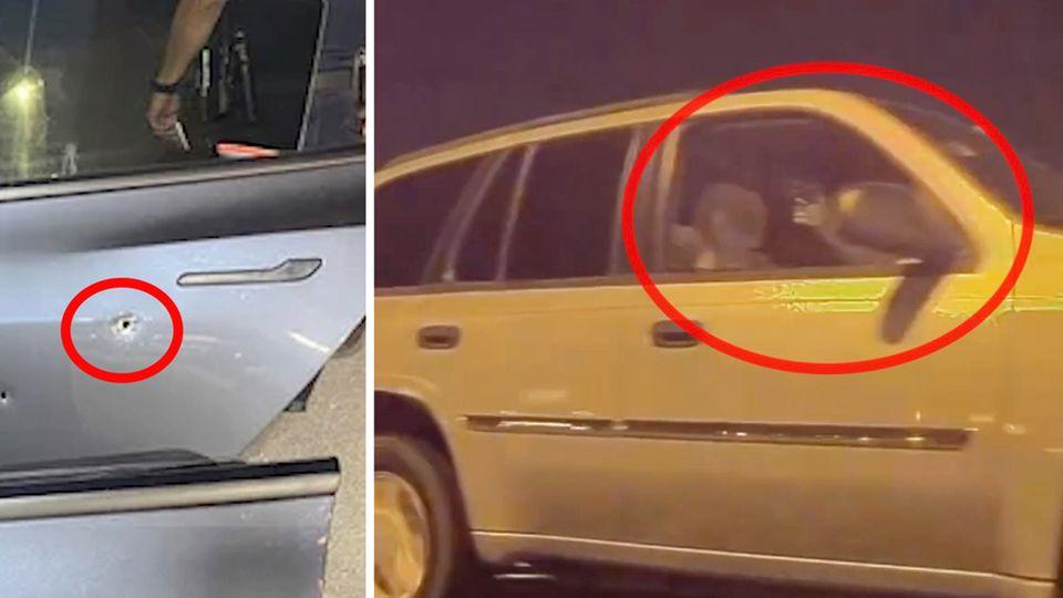 USA: Dashcam-Video zeigt Moment, als SUV-Fahrer auf Tesla schießt