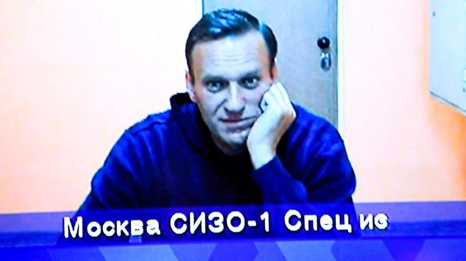 Alexej Nawalny im Moskauer Landgericht. Journalisten bekamen ihn nur auf dem Fernsehbildschirm zu sehen.