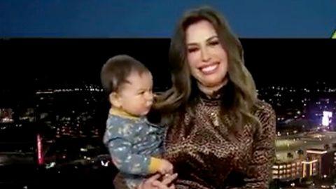 TV-Meteorologin Leslie Lopez bekommt mitten in einer Live-Sendung niedlichen Besuch am Homeoffice-Set.