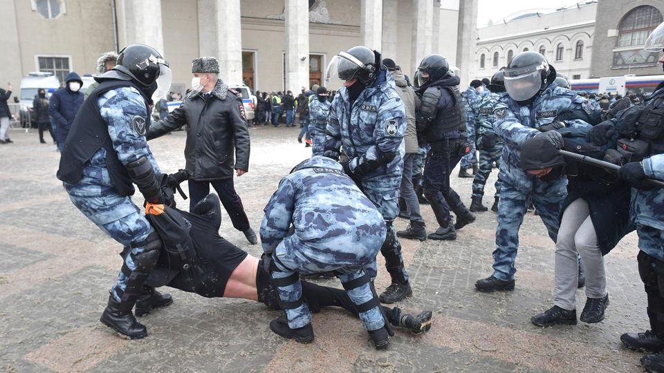 Festnahme in Moskau, der Hauptstadt Russlands