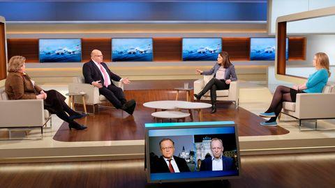 """Anne Will diskutiert in ihrer Talkshow mit ihren Gästen über das Thema: """"Ein Jahr Corona-Pandemie – Zeit für neue Perspektiven?"""""""