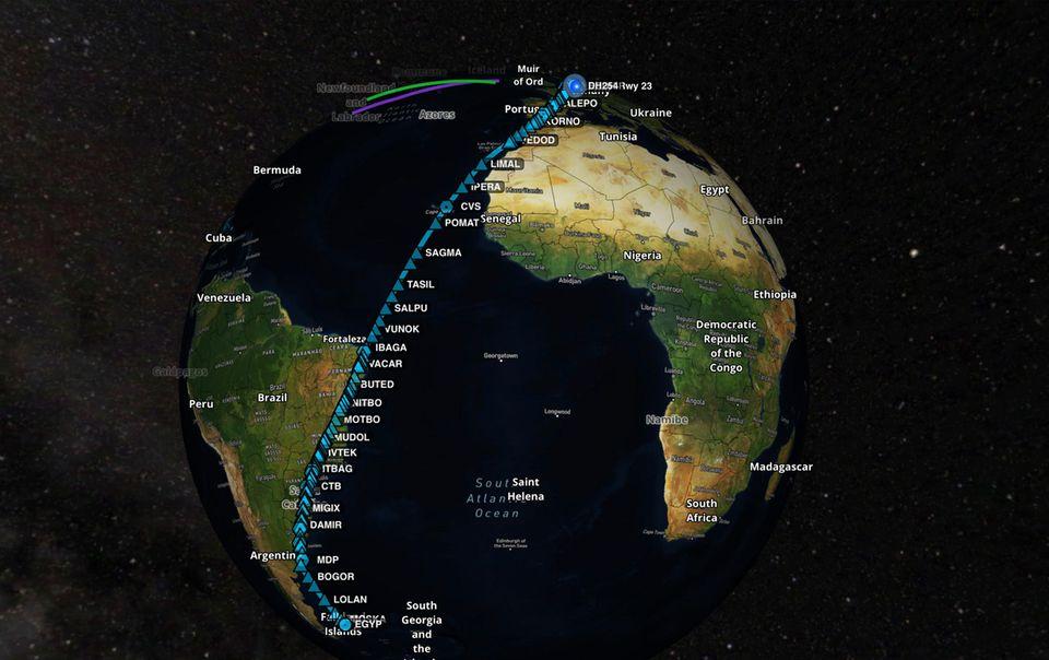 Das geplante Routing des Rekordlfluges von Hamburg zu den Falklandinseln