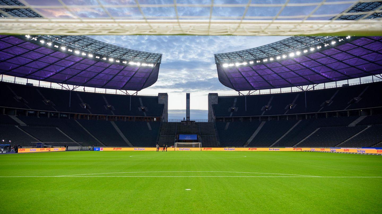 Berliner Olympiastadion vor einem Coronavirus-Geisterspiel in der Fußball-Bundesliga