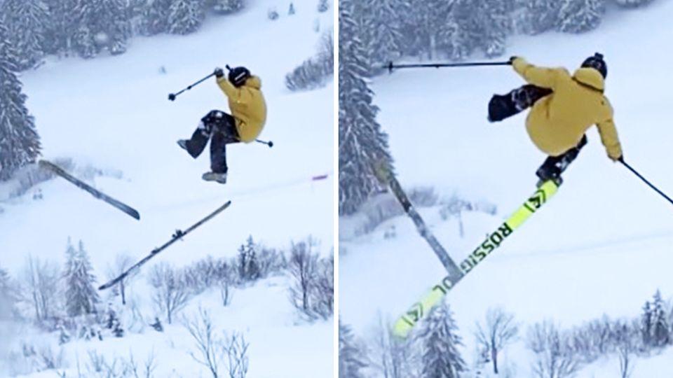 Freerider verliert seine Ski im Sprung