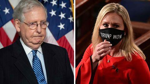 Der Anführer der Republikaner im US-Senat, Mitch McConnell, hat sich in scharfer Form von der Partei- und Parlamentskollegin Marjorie TaylorGreenedistanziert
