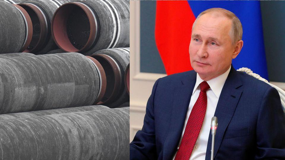 Rohre für die Ostsee-Gaspipeline Nord Stream 2. rechts: Russlands Präsident Wladimir Putin