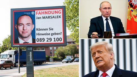 Der flüchtigeEx-Wirecard-ManagerJan Marsalek, Russlands Präsident Wladimir Putin und der frühere US-Präsident Donald Trump