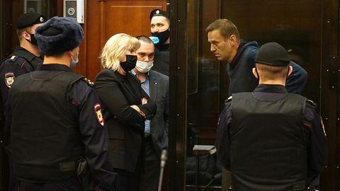 Der Oppositionsaktivist Alexej Nawalny bei einer Anhörung vor dem Simonovsky Bezirksgericht