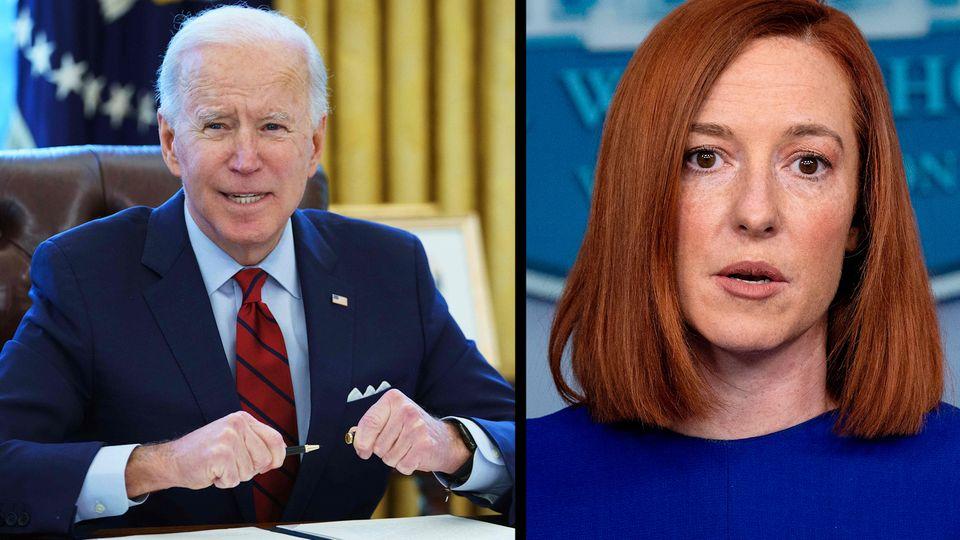 Joe Biden und Pressesprecherin Jen Psaki