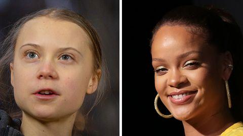 Links lächelt ein dunkelblondes weißes Mädchen mit rundlichem Gesicht, rechts Rihanna mit goldenen Kreolen und in gelbem Top To